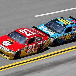 April 17, 2011; Talladega, AL, USA; NASCAR Sprint Cup Series driver Greg Biffle (16) drafts Trevor Bayne (21) during the Aarons 499 at Talladega Superspeedway.   Mandatory Credit: Derick E. Hingle