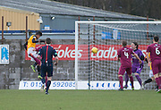 East Fife&rsquo;s Nathan Austin heads his side's opening goal  - East Fife v Arbroath, SPFL League Two at New Bayview<br /> <br />  - &copy; David Young - www.davidyoungphoto.co.uk - email: davidyoungphoto@gmail.com