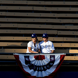 Los Angeles Dodgers fans look on from the left field pavilion seats during batting practice prior to a National League Divisional Series baseball game against the Arizona Diamondbacks at Dodger Stadium on Friday, Oct. 06, 2017 in Los Angeles. (Photo by Keith Birmingham, Pasadena Star-News/SCNG)