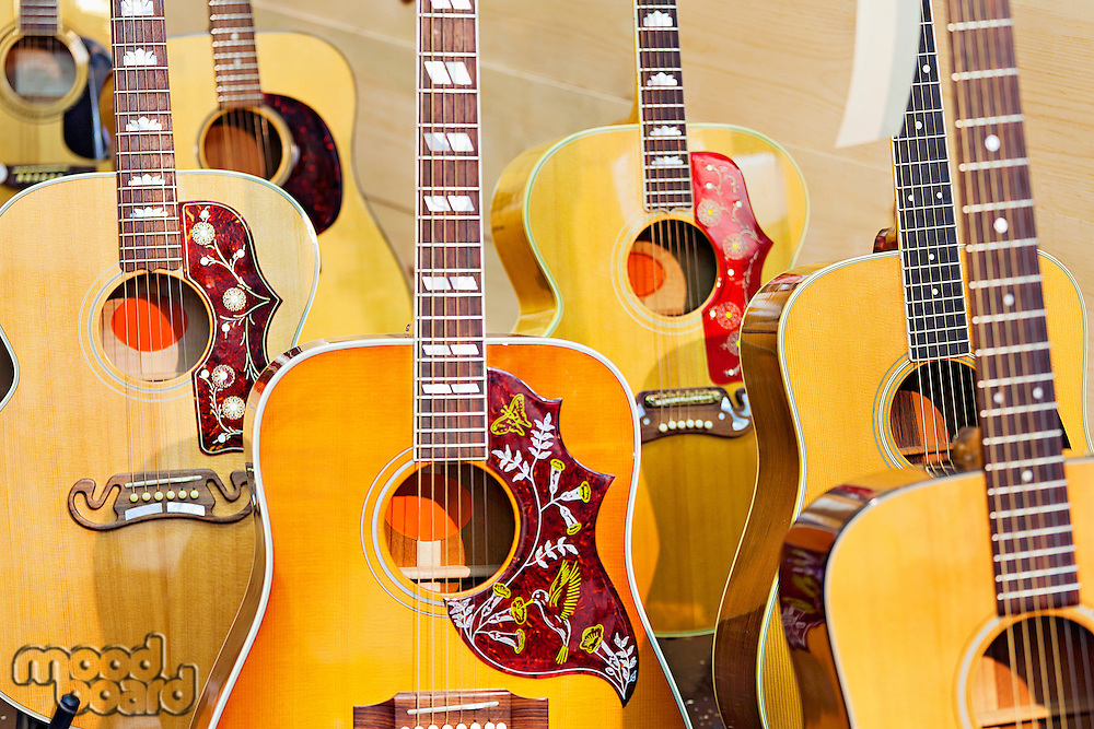 Collection of electric guitars at music store