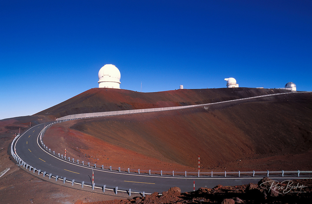 Road leading up to observatories on the summit of Maura Kea at 13,800 feet, The Big Island, Hawaii