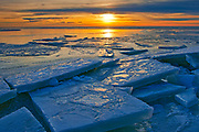 Ice on Lake Winnipeg at sunset, , Manitoba, Canada