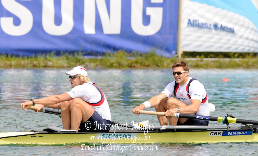 Munich, GERMANY,  Sunday finals. Gold Medalist GBR M2- bow. Peter REED and Andy TRIGGS HODGE. FISA World Cup on the Munich Olympic Rowing Course,  Sunday  29/05/2011  [Mandatory Credit Peter Spurrier/ Intersport Images]