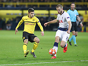 Christian Pulisic of Borussia Dortmund against Eric Dier of Tottenham Hotspur during the Champions League round of 16, leg 2 of 2 match between Borussia Dortmund and Tottenham Hotspur at Signal Iduna Park, Dortmund, Germany on 5 March 2019.
