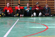 Mitglieder des ungarischen Goalball Teams bei einer Pause w&auml;hrend dem internationalen Turnier in Budapest. Goalball ist eine Mannschaftssportart f&uuml;r blinde und sehbehinderte Menschen und wurde vom &Ouml;sterreicher Hans Lorenzen und dem deutschen Sepp Reindle f&uuml;r Kriegsinvalide entwickelt und zum ersten Mal 1946 gespielt. Die Bilder entstanden auf zwei internationalen Goalball Turnieren in Budapest und Zagreb 2007.<br /> <br /> Members of the hungarian Goalball team during a break at the international tournament in Budapest. Goalball is a team sport designed for blind and visually impaired athletes. It was devised by an Austrian, Hanz Lorenzen, and a German, Sepp Reindle, in 1946 in an effort to help in the rehabilitation of visually impaired World War II veterans. The International Blind Sports Federatgion (IBSA - www.ibsa.es), responsible for fifteen sports for the blind and partially sighted in total, is the governing body for this sport. The images were made during two Goalball tournaments in Budapest and Zahreb 2007.