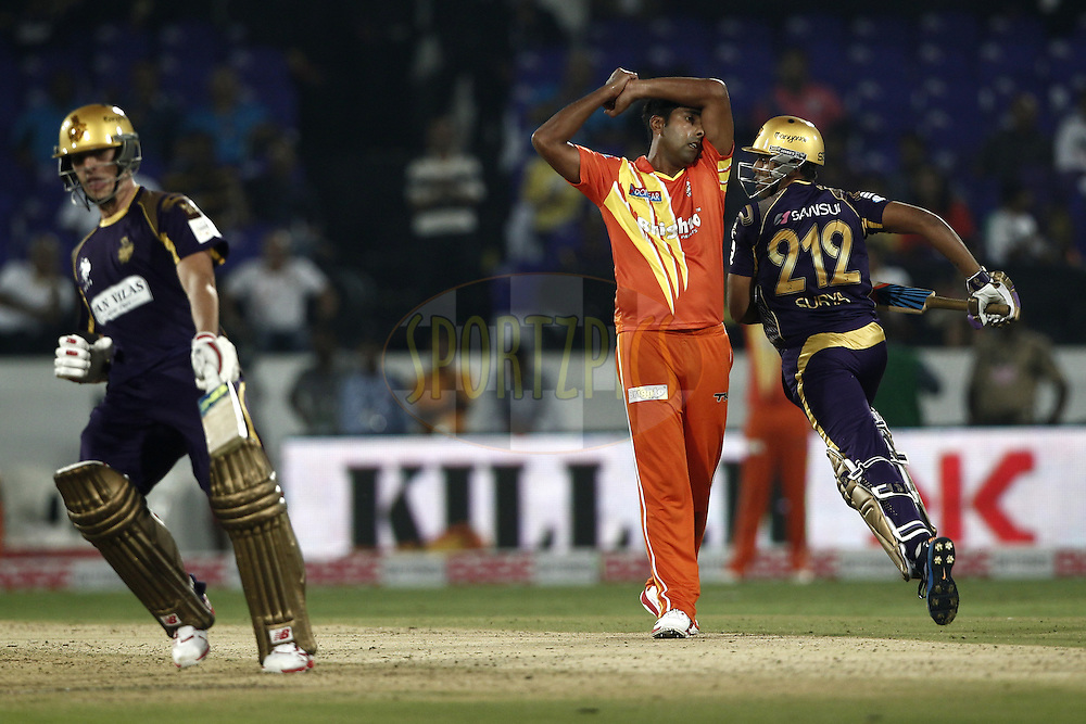 Asif Raza of the LAHORE LIONS react after loss the match during match 7 of the Oppo Champions League Twenty20 between the Kolkata Knight Riders and the Lahore Lions held at the Rajiv Gandhi Cricket Stadium, Hyderabad, India on the 21st September 2014<br /> <br /> Photo by:  Deepak Malik / Sportzpics/ CLT20<br /> <br /> <br /> Image use is subject to the terms and conditions as laid out by the BCCI/ CLT20.  The terms and conditions can be downloaded here:<br /> <br /> http://sportzpics.photoshelter.com/gallery/CLT20-Image-Terms-and-Conditions-2014/G0000IfNJn535VPU/C0000QhhKadWcjYs