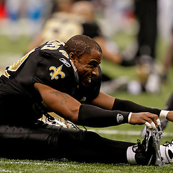 Nov 08, 2009; New Orleans, LA, USA;  New Orleans Saints safety Darren Sharper (42) in warm ups prior to kickoff against the Carolina Panthers at the Louisiana Superdome. The Saints defeated the Panthers 30-20. Mandatory Credit: Derick E. Hingle