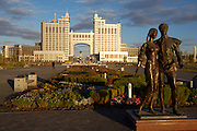 The Baiterek, the New Astana's main symbol and landmark, seen through the State Gas Headquarters.