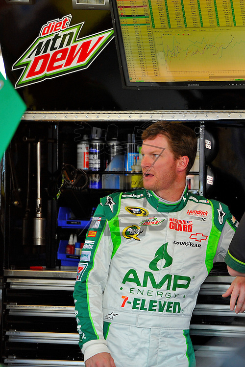 Joliet, IL - SEP 14, 2012: Dale Earnhardt, Jr. (88) stands in the garage during practice for the Geico 400 at the Chicagoland Speedway in Joliet, IL.
