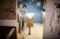 Danny Hess makes surfboards out of sustainable wood, in his woodshop, in San Francisco, Ca., on Tuesday, July 5, 2011.