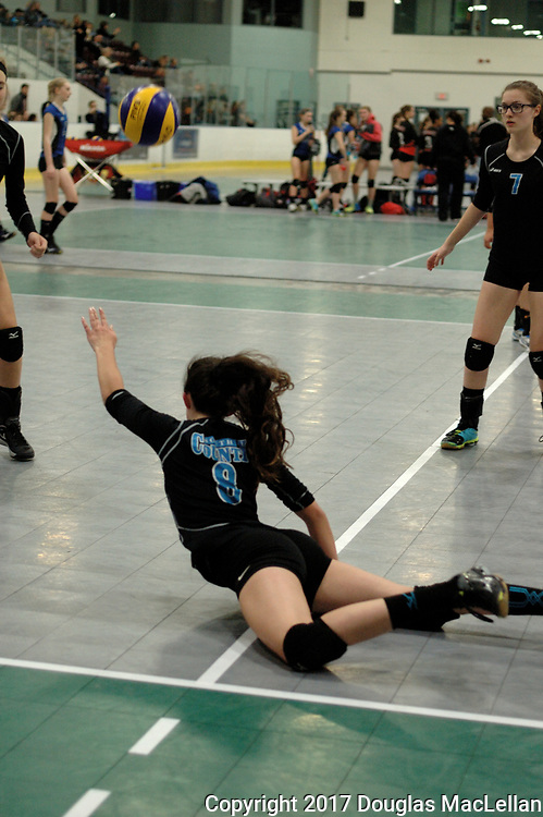 Canada, Waterloo. April 2017. The South County Bandits U15 Black team travel to Waterloo for the Ontario Volleyball Association Championships. The team plays well and moves from pre-tournament ranking of 21 to finish at 9.