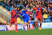 Matthew Lund, Billy Knott, Callum Camps  during the EFL Sky Bet League 1 match between Gillingham and Rochdale at the MEMS Priestfield Stadium, Gillingham, England on 26 November 2016. Photo by Daniel Youngs.