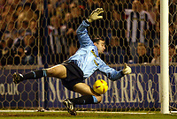 Photograph: Scott Heavey.<br /> West Bromwich Albion v Walsall. Nationwide Division One. 09/01/2004.<br /> Russell Hoult makes a near post save to deny Darren Wrack
