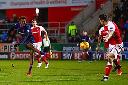 Jamal Lowe of Portsmouth takes a shot at goal - Mandatory by-line: Ryan Crockett/JMP - 20/01/2018 - FOOTBALL - Aesseal New York Stadium - Rotherham, England - Rotherham United v Portsmouth - Sky Bet League One