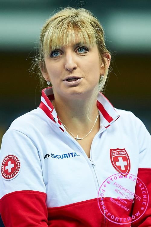 Timea Bacsinszky from Switzerland while opening ceremony during the Fed Cup / World Group Play Off tennis match between Poland and Switzerland on April 18, 2015 in Zielona Gora, Poland<br /> Poland, Zielona Gora, April 18, 2015<br /> <br /> Picture also available in RAW (NEF) or TIFF format on special request.<br /> <br /> For editorial use only. Any commercial or promotional use requires permission.<br /> <br /> Adam Nurkiewicz declares that he has no rights to the image of people at the photographs of his authorship.<br /> <br /> Mandatory credit:<br /> Photo by &copy; Adam Nurkiewicz / Mediasport