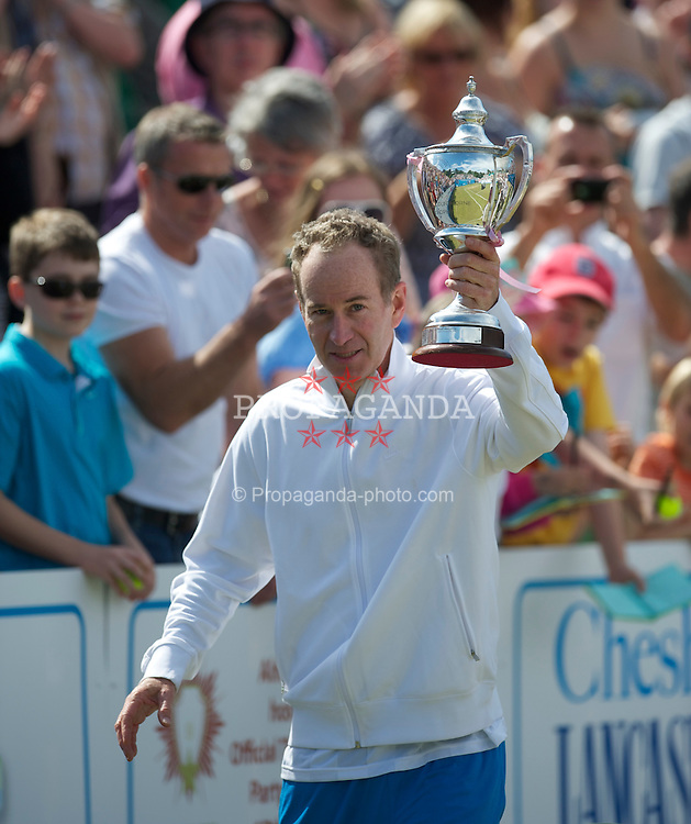 LIVERPOOL, ENGLAND - Sunday, June 20, 2010: John McEnroe (USA) after winning the Legends' Singles Title on day five of the Liverpool International Tennis Tournament at Calderstones Park. (Pic by David Rawcliffe/Propaganda)