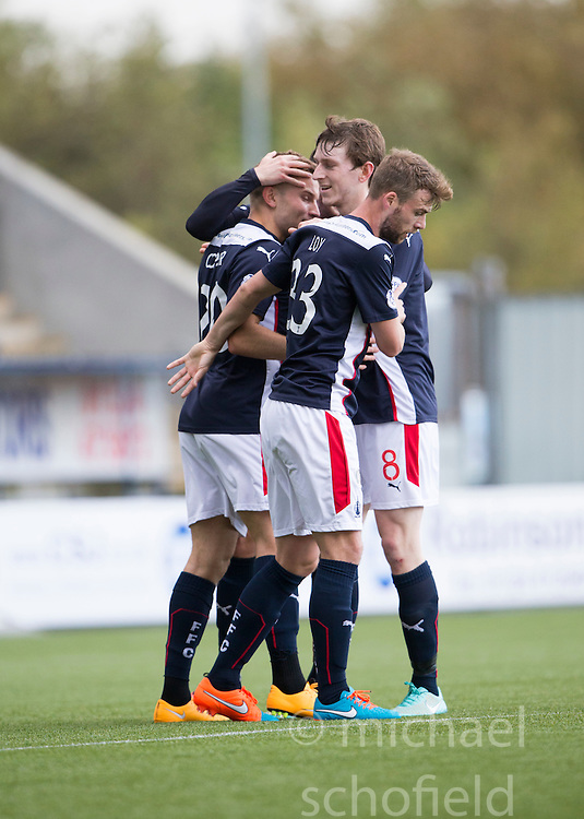 Falkirk's Alex Cooper celebrates after scoring their third goal.<br /> Falkirk 6 v 0 Cowdenbeath, Scottish Championship game played at The Falkirk Stadium, 25/10/2014.
