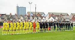 NEWPORT, WALES - Tuesday, November 19, 2019: Kosovo (L) and Wales (R) line up for the anthems ahead of the UEFA Under-19 Championship Qualifying Group 5 match between Kosovo and Wales at Rodney Parade. (Pic by Laura Malkin/Propaganda)