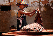 A man cleaning a load of leather that has been dyed at the famous tanneries of Fes, Morocco on Friday afternoon, June 08, 2007. The job of a tanner is quite prestigious and well respected; this man is wearing a traditional and colorful Berber hat. (PHOTO BY TIMOTHY D. BURDICK).