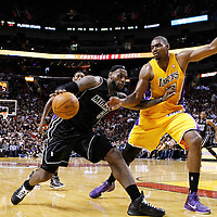 19 January 2012: Los Angeles Lakers center Andrew Bynum (17) defends on Miami Heat small forward LeBron James (6) during the Miami Heat 98-87 victory over the Los Angeles Lakers at the AmericanAirlines Arena, Miami, Florida, USA.