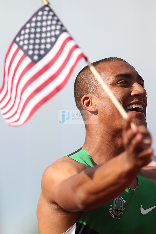 Ashton Eaton celebrates after finishing the 1500m portion of the Decathlon for a world record during day 2 of the U.S. Olympic Trials for Track & Field at Hayward Field in Eugene, Oregon, USA 23 Jun 2012..(Jed Jacobsohn/for The New York Times)...