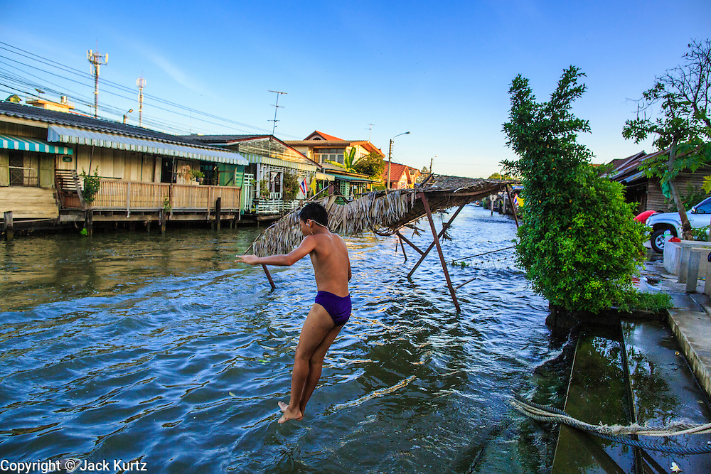 13 JANUARY 2013 - BANGKOK, THAILAND:  A Thai boy jumps into Khlong Bang Luang from a tree on the canal bank in Bangkok. The Bang Luang neighborhood lines Khlong (Canal) Bang Luang in the Thonburi section of Bangkok on the west side of Chao Phraya River. It was established in the late 18th Century by King Taksin the Great after the Burmese sacked the Siamese capital of Ayutthaya. The neighborhood, like most of Thonburi, is relatively undeveloped and still criss crossed by the canals which once made Bangkok famous. It's now a popular day trip from central Bangkok and offers a glimpse into what the city used to be like.     PHOTO BY JACK KURTZ