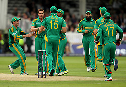 South Africa's Dale Steyn (second left) celebrates taking England's Alistair Cook by lbw with team mates during the One Day International match at Lord's