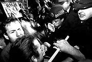 Demonstrators clash with police at Anti Poll Tax demo, Hackney, London, 1980's.