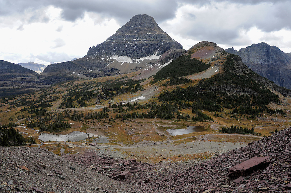 View of Mount Reynolds from the lateral moraine left by a former glacier at the base of Mount Clements at Logan Pass, Glacier National Park, Montana, Tuesday, October 7, 2014. According to Dan Fagre Ph.D. of the USGS receding glaciers in the park means that streams dry up in late summer and fall.
