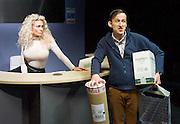 Saxon Court <br /> by Daniel Andersen <br /> at Southwark Playhouse, London, Great Britain <br /> press photocall <br /> 24th November 2014 <br /> <br /> <br /> Alice Franklin as Tash <br /> Adam Brown as Mervyn<br /> <br /> <br /> <br /> Photograph by Elliott Franks <br /> Image licensed to Elliott Franks Photography Services
