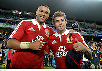 15 June 2013; Simon Zebo, left, and Leigh Halfpenny, British & Irish Lions, celebrate after the match. British & Irish Lions Tour 2013, NSW Waratahs v British & Irish Lions, Allianz Stadium, Sydney, NSW, Australia. Picture credit: Stephen McCarthy / SPORTSFILE
