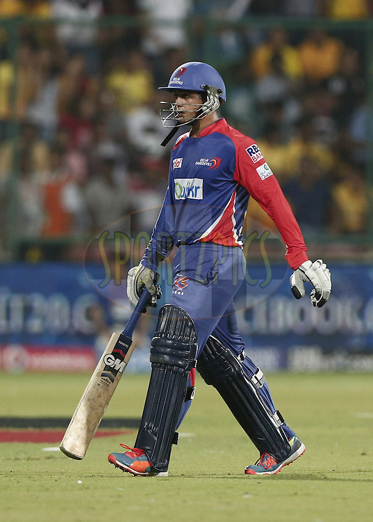 Quinton de Kock of the Delhi Daredevils  walk back to pavilion during match 26 of the Pepsi Indian Premier League Season 2014 between the Delhi Daredevils and the Chennai Superkings held at the Ferozeshah Kotla cricket stadium, Delhi, India on the 5th May  2014<br /> <br /> Photo by Deepak Malik / IPL / SPORTZPICS<br /> <br /> <br /> <br /> Image use subject to terms and conditions which can be found here:  http://sportzpics.photoshelter.com/gallery/Pepsi-IPL-Image-terms-and-conditions/G00004VW1IVJ.gB0/C0000TScjhBM6ikg
