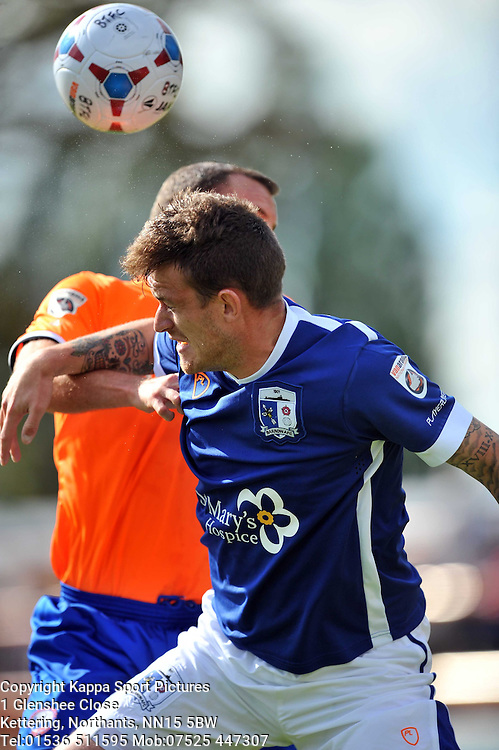 Barrows Andy Cook attacks Braintrees Defence, Braintree Town v Barrow AFC, Avanti Stadium Braintree, Vanarama National League, Saturday, 12th September 2015 Braintree Town v Barrow AFC Saturday, 12th September 2015