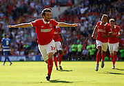 Tony Watt celebrates his opener during the Sky Bet Championship match between Charlton Athletic and Queens Park Rangers at The Valley, London, England on 8 August 2015. Photo by Andy Walter.