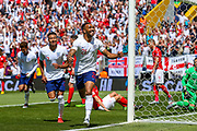 England forward Callum Wilson (Bournemouth) scores and celebrates but the goal is disallowed during the UEFA Nations League 3rd place play-off match between Switzerland and England at Estadio D. Afonso Henriques, Guimaraes, Portugal on 9 June 2019.