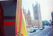 Parliament from the back of a ravers truck, 2nd Criminal Justice March, Victoria, London, UK, 23rd of July 1994.