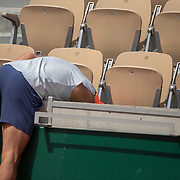 PARIS, FRANCE May 23.  Rafael Nadal of Spain retrieves a ball while training on Court Suzanne Lenglenin preparation for the 2019 French Open Tennis Tournament at Roland Garros on May 23rd 2019 in Paris, France. (Photo by Tim Clayton/Corbis via Getty Images)