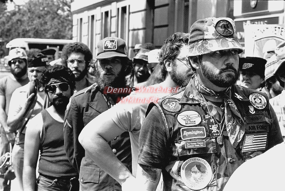 Veterans protesting on behalf of victims of Agent Orange stand outside the VA Building in Washington, DC awaiting entry on May 13, 1982.