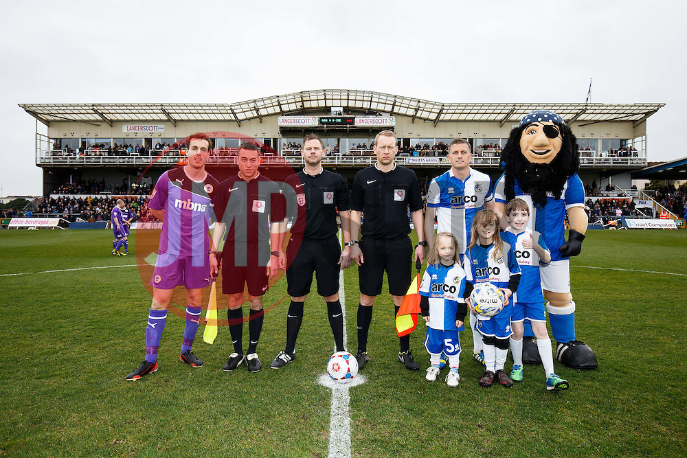The match officials and mascots pose with the two captains, Michael Kay of Chester (L)  and Lee Mansell of Bristol Rovers (R) - Photo mandatory by-line: Rogan Thomson/JMP - 07966 386802 - 03/04/2015 - SPORT - FOOTBALL - Bristol, England - Memorial Stadium - Bristol Rovers v Chester - Vanarama Conference Premier.