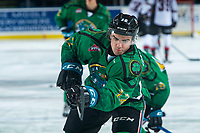KELOWNA, CANADA - MARCH 18: Erik Gardiner #12 of the Kelowna Rockets warms up against the Vancouver Giants  on March 1, 2018 at Prospera Place in Kelowna, British Columbia, Canada.  (Photo by Marissa Baecker/Shoot the Breeze)  *** Local Caption ***