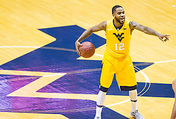 Dec 10, 2016; Morgantown, WV, USA; West Virginia Mountaineers guard Tarik Phillip (12) calls out a play during the first half against the Virginia Military Keydets at WVU Coliseum. Mandatory Credit: Ben Queen-USA TODAY Sports