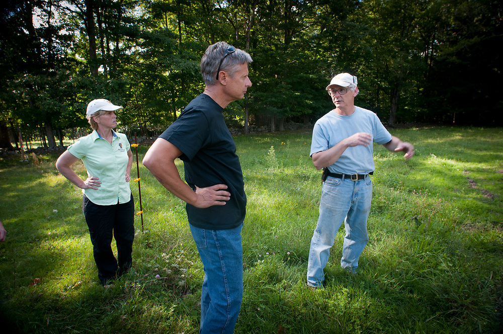 Presidential hopeful, former New Mexico Governor Gary Johnson talks about farming issues with Carole Soule and Bruce Dawson of Miles Smith farm in Loudon, NH. 23rd of august 2011.