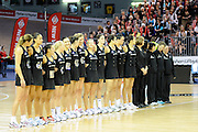 Silver Ferns during national anthem, during New World Netball Series, New Zealand Silver Ferns v England at The ILT Velodrome, Invercargill, New Zealand. Thursday 6 October 2011 . Photo: Richard Hood photosport.co.nz