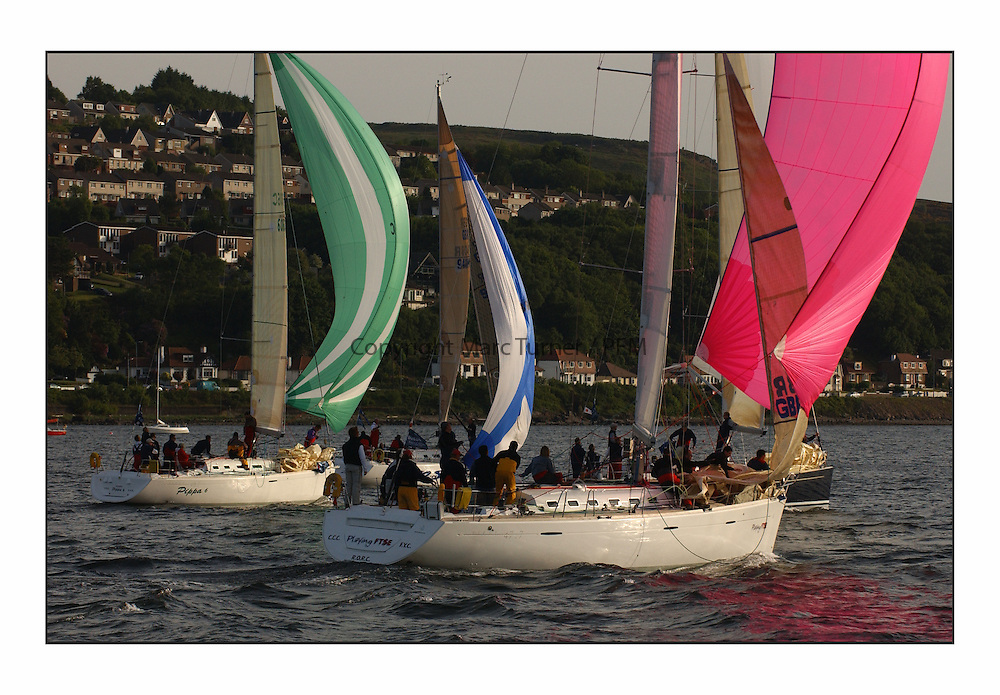 Racing at the Bell Lawrie Yachting Series in Tarbert Loch Fyne ..The start of the Bell Lawrie Yachting Series from Gourock overnight to Tarbert Loch Fyne...first 47.7 Playing FTSE GBR603R, and Firdt 40.7 Pippa 6 6006C.
