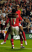 Fotball<br /> Foto: SBI/Digitalsport<br /> NORWAY ONLY<br /> <br /> England v Ukraina<br /> <br /> 18/08/2004. International Friendly<br /> <br /> England's Shaun Wright-Phillips cannot believe his dream debut as he finds the back of the net, as Jermaine Defoe jumps on his shoulders in celebration.