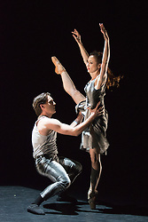 "© Licensed to London News Pictures. 18/06/2015. London, UK. Pictured: ""A Touch for Eternity"" choreographed by James Streeter, with Adela Ramirez and Juan Rodriguez performing. The English National Ballet (ENB) presents Choreographics, dance created by emerging and developing choreographers inspired by the theme of ""Post-War America"" at the Lilian Baylis Studio/Sadler's Wells. Photo credit : Bettina Strenske/LNP"