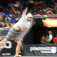 Tennis pro Andy Roddick is seen as he serves the ball during the PowerShares Tennis Series event at the Amway Center on January 5, 2017 in Orlando, Florida. (Alex Menendez via AP)