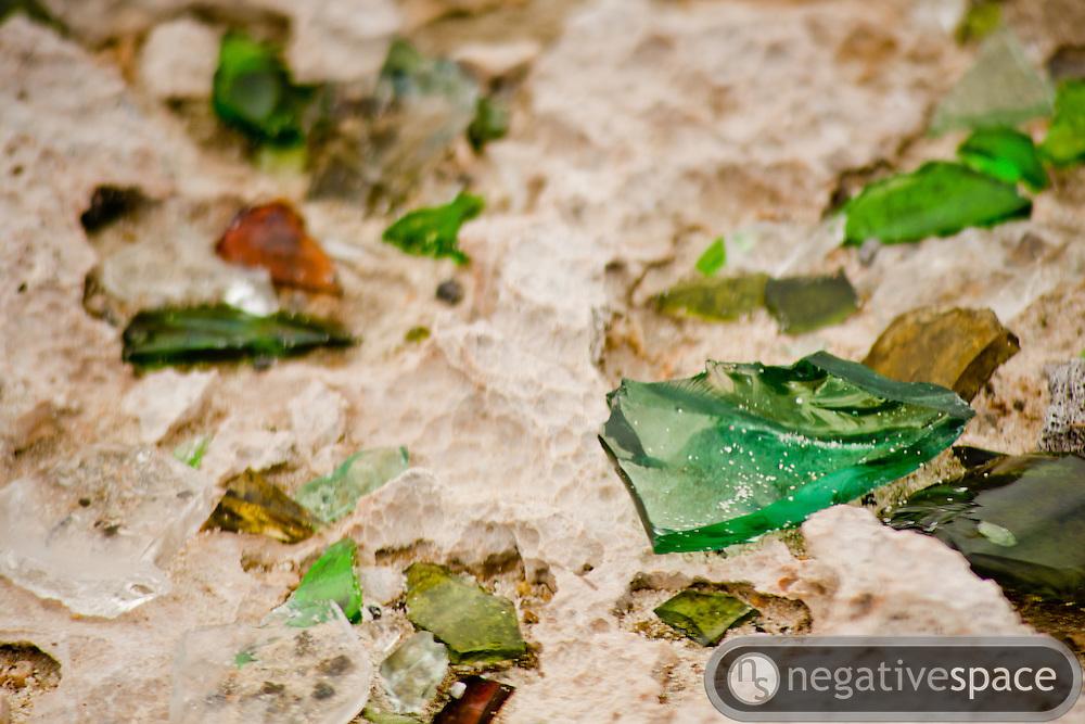Sea glass in sand, Baby Beach, Aruba