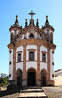 view of the church Nossa Senhora de Rosario of the UNESCO world heritage city of Ouro Preto in Minas Gerais Brazil