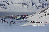 View in April from atop glacier above Longyearbyen; Svalbard, Norway.